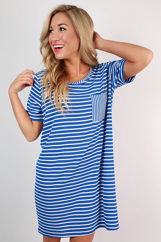 Concert Season T-shirt Dress in Blue