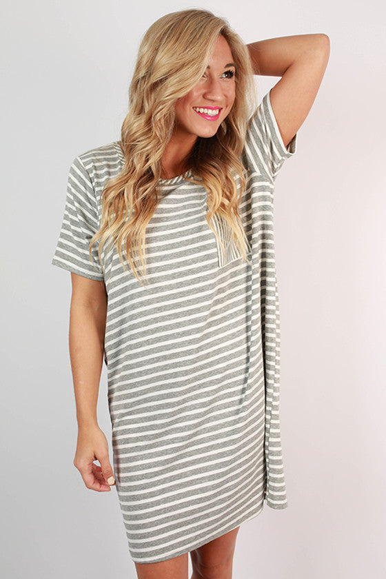 Concert Season T-shirt Dress in Grey