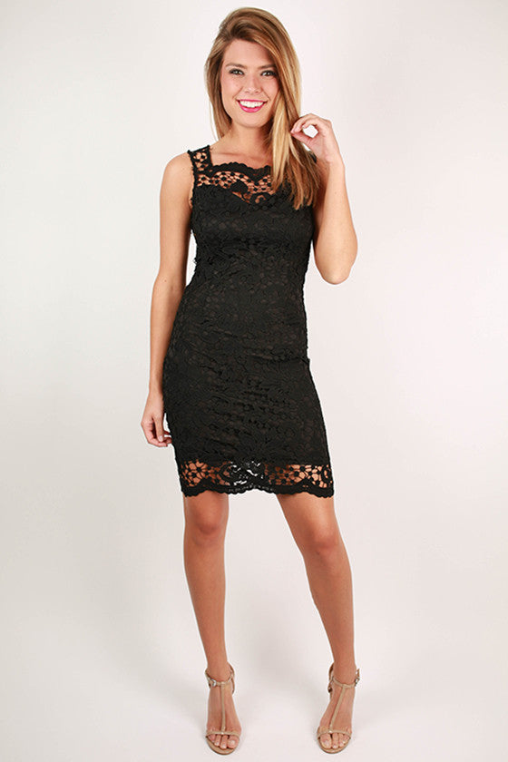 Sunday Charm Crochet Dress in Black
