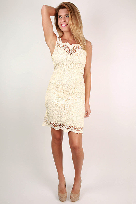 Sunday Charm Crochet Dress in Cream
