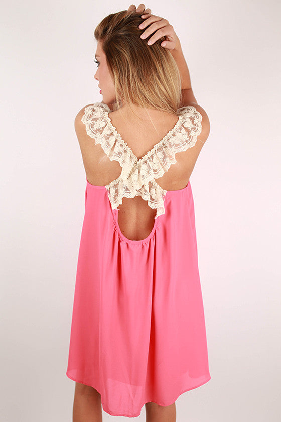 Girl's Best Friend Lace Back Dress in Calypso