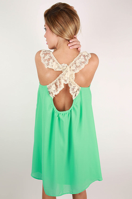Girl's Best Friend Lace Back Dress in Mint