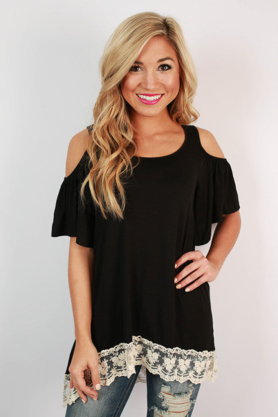 Rhythm & Ruffles Tunic in Black