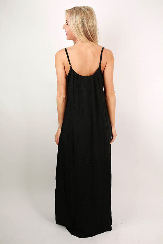 Love in Laguna Embroidered Maxi Dress in Black