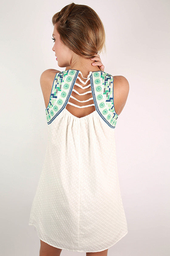 Sightseeing in Santorini Embroidered Dress in Mint