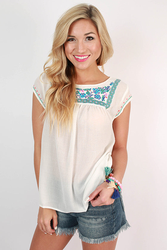 Pretty as Peonies Embroidered Top in White
