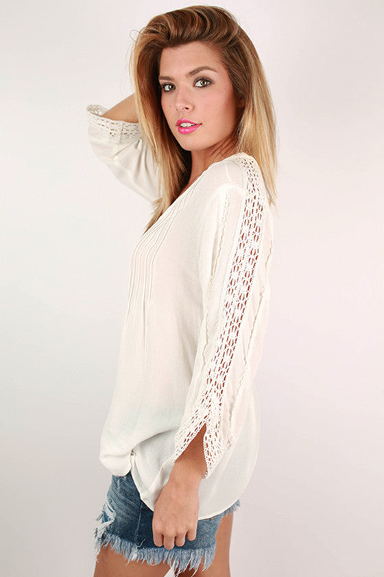 Let's Picnic Crochet Top in White
