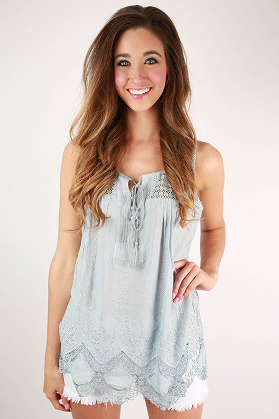 Pacific Coast Party Embroidered Tank in Sky Blue