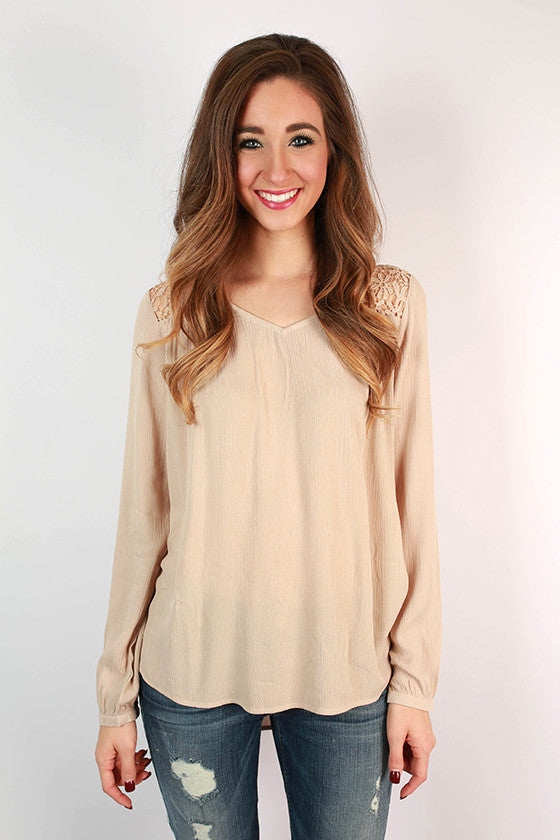 Cruising the Mediterranean Crochet Top in Taupe