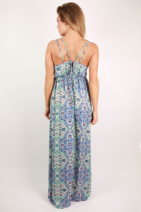 Bronzed in Tahiti Maxi Dress in Blue
