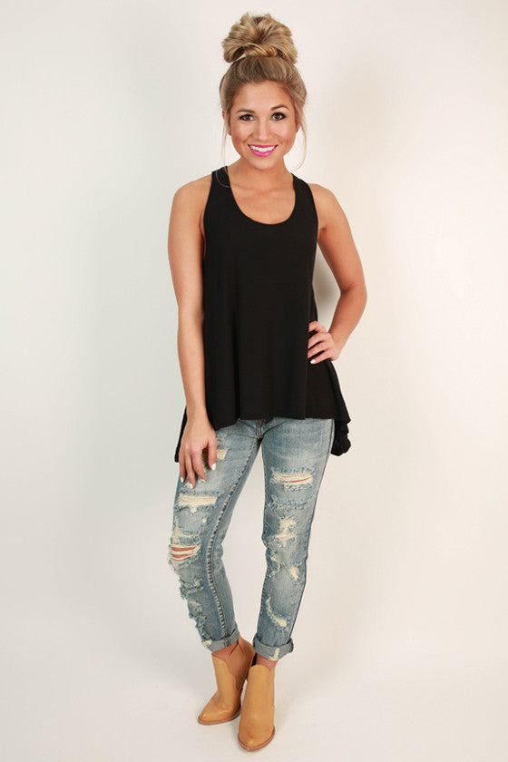 No Strings Attached Tank Top in Black
