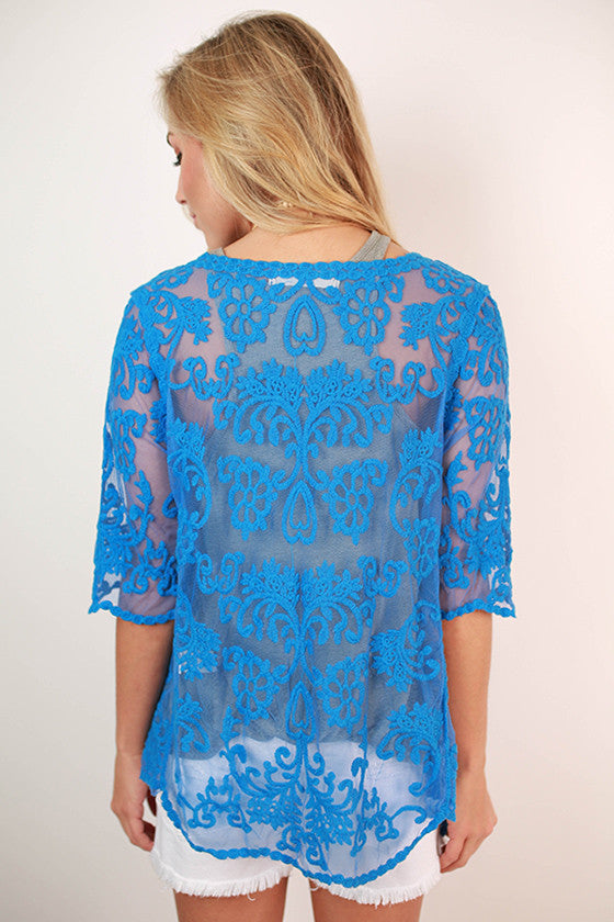 Tea Time Lace Overlay in Royal Blue