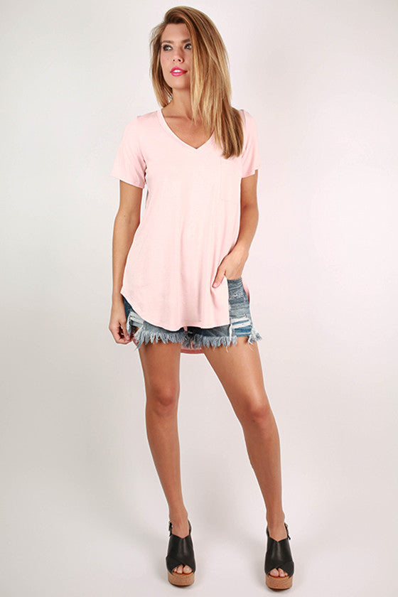 Pocket Perfect V-Neck Tunic Tee in Baby Pink