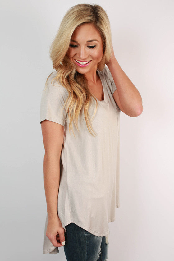 Pocket Perfect V-Neck Tunic Tee in Stone