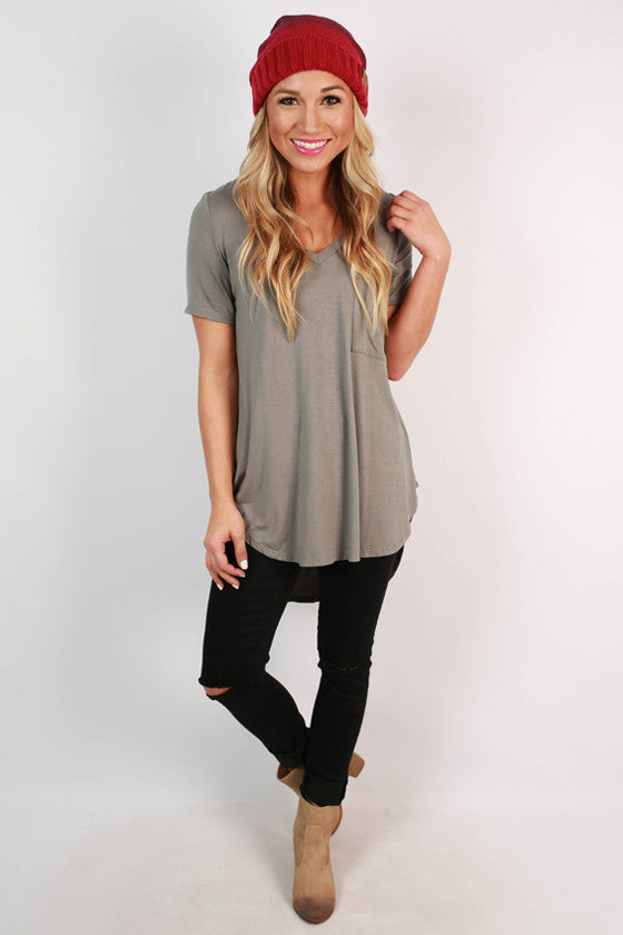 Pocket Perfect V-Neck Tunic Tee in Dark Grey