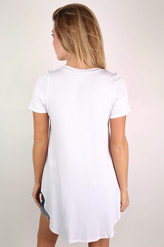 Pocket Perfect V-Neck Tunic Tee in White