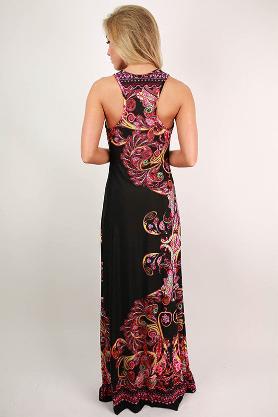 Sangria Sunsets Maxi Dress in Black