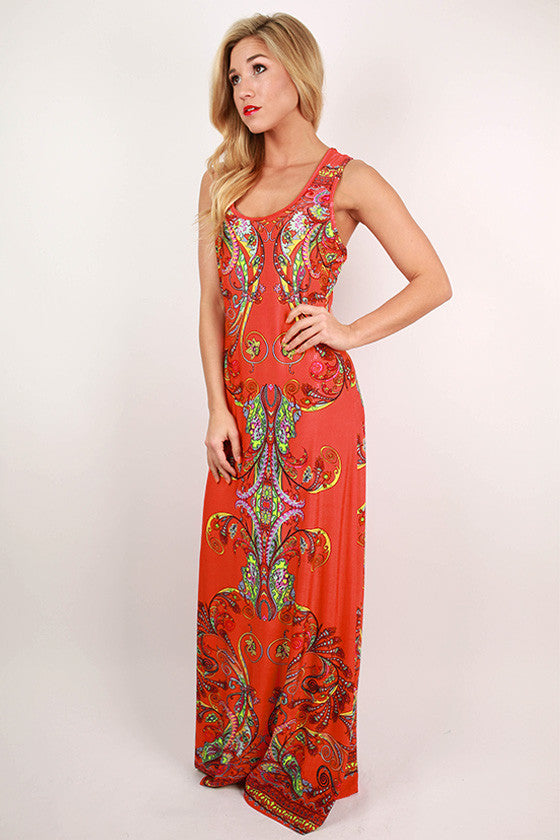 Sangria Sunsets Maxi Dress in Calypso