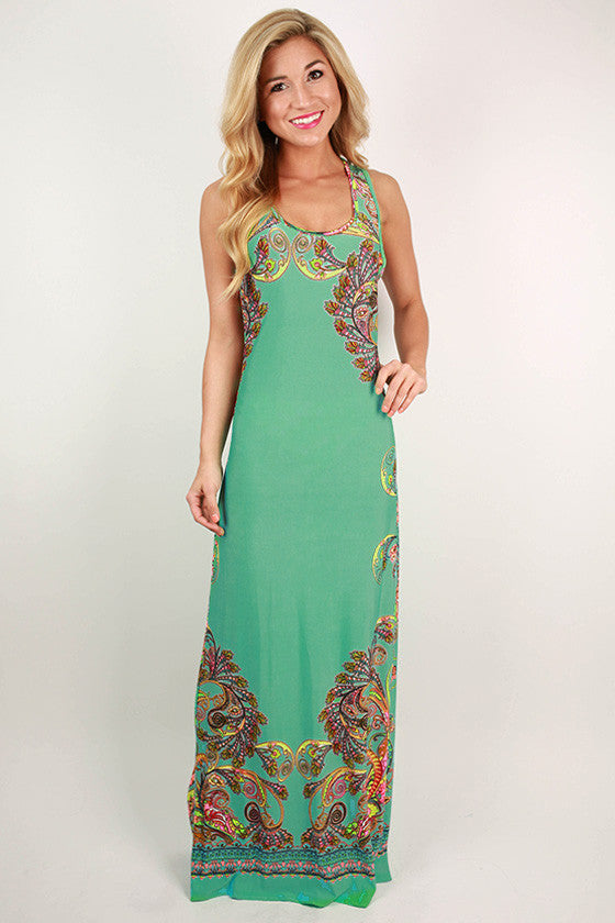 Sangria Sunsets Maxi Dress in Ocean Wave