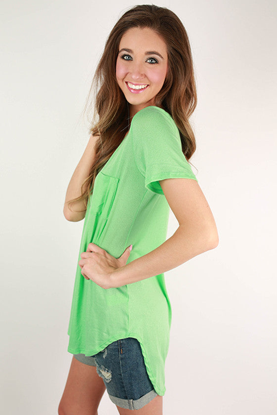 Pocket Perfect V-Neck Tunic Tee in Neon Lime