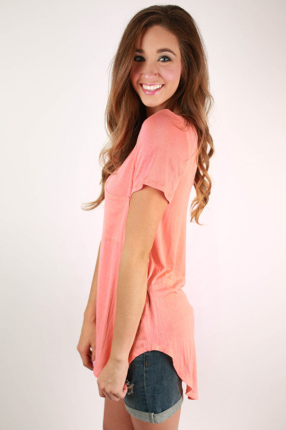 Pocket Perfect V-Neck Tunic Tee in Neon Peach