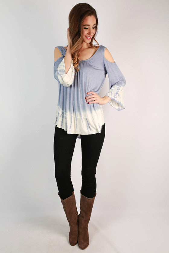 Comfortable Chic Tie Dye Top in Periwinkle