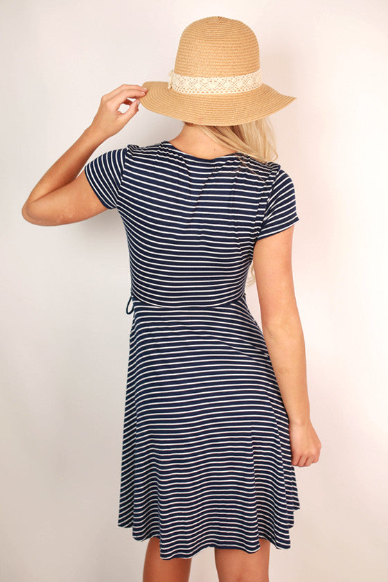 Stripes Unlimited Tie Dress in Navy