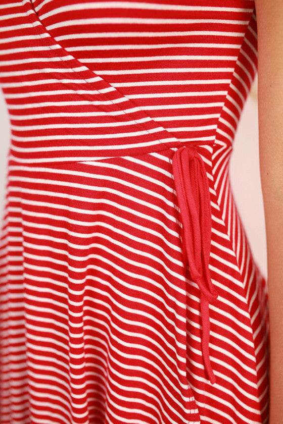 Stripes Unlimited Tie Dress in Red