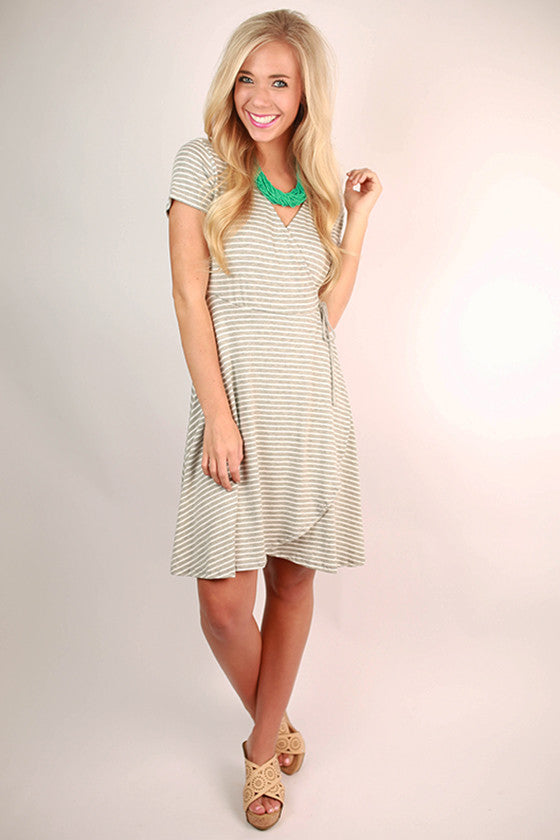 Stripes Unlimited Tie Dress in Grey