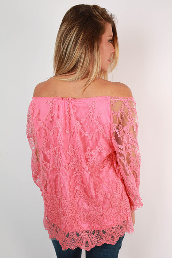 Lily Lace Off Shoulder Top in Pink