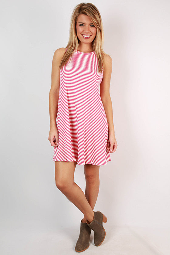 Talk French To Me Twirl Stripe Tank Dress in Pink