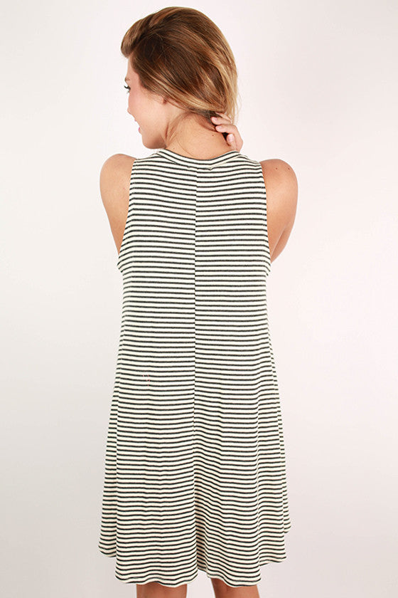 Talk French To Me Twirl Stripe Tank Dress in Grey