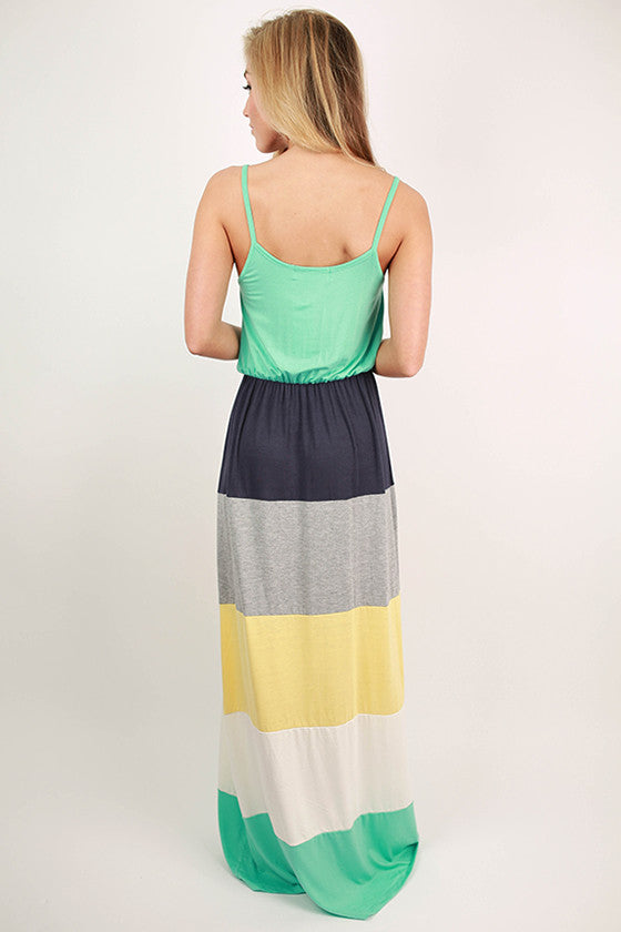 First Class To Paradise Color Block Maxi Dress in Aqua