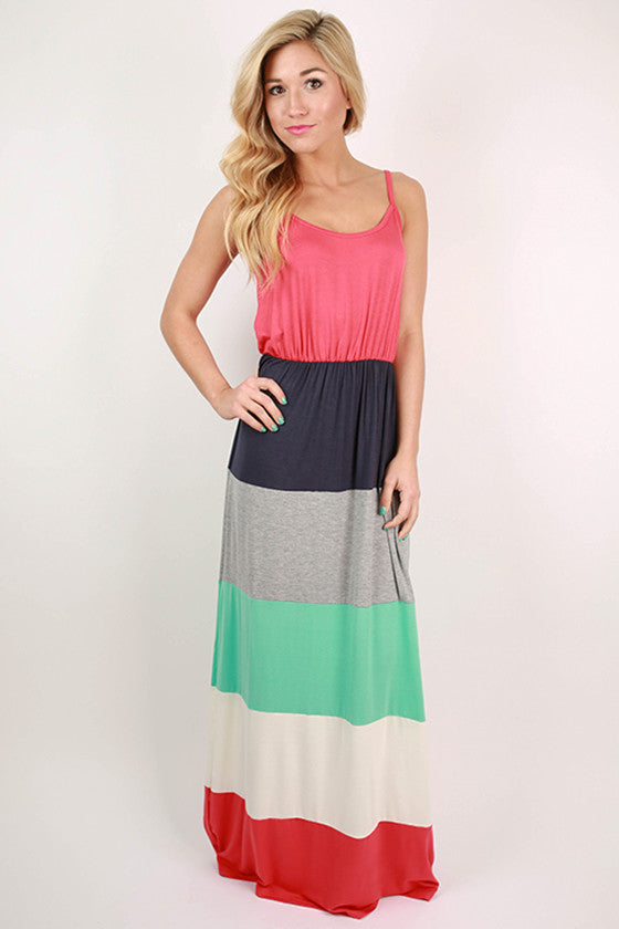 First Class To Paradise Color Block Maxi Dress in Tomato