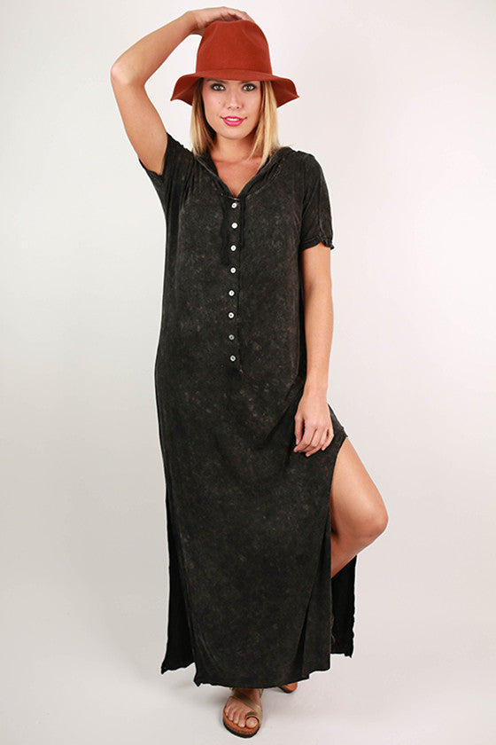 Boardwalk Days Mineral Washed Maxi Dress in Black