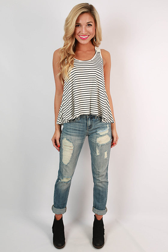 Cocktails At Sunset Stripe Swing Tank in White