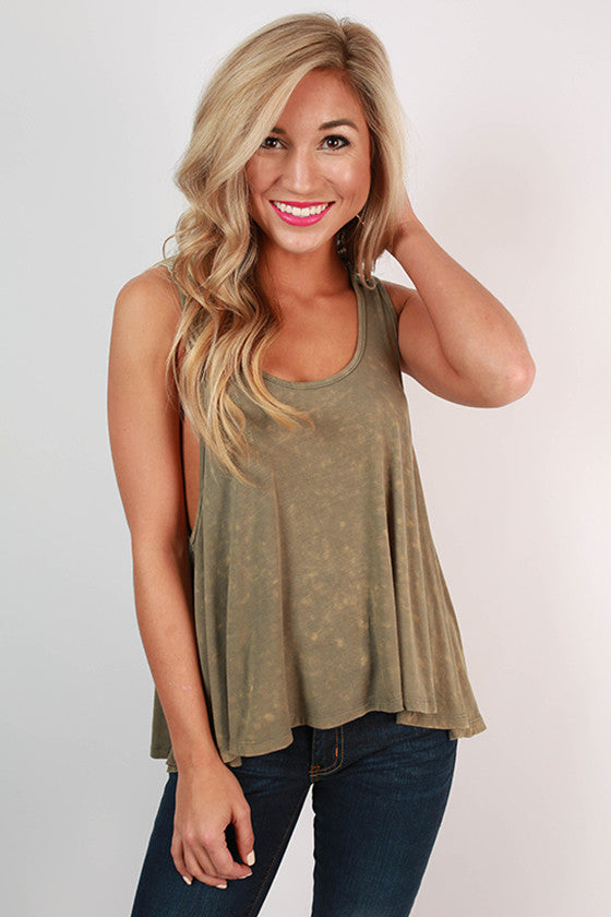 Cocktails At Sunset Swing Tank in Olive
