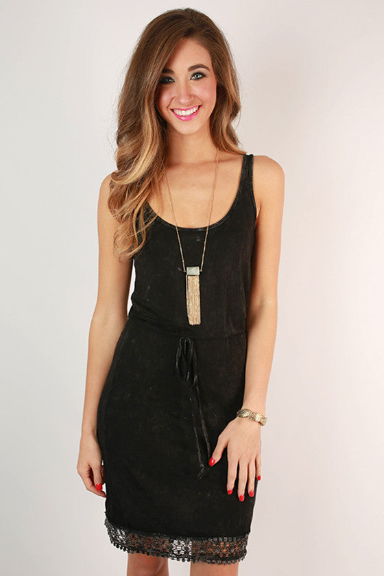 Hot Summer Nights Empire Dress in Black