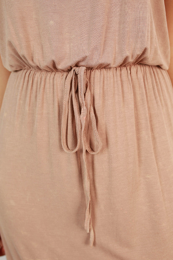 Hot Summer Nights Empire Dress in Taupe