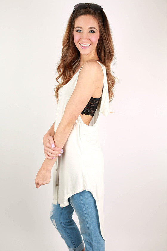 Cool Breeze Hooded Tunic Tank in White