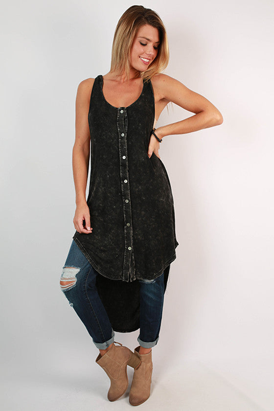 Cool Breeze Hooded Tunic Tank in Black