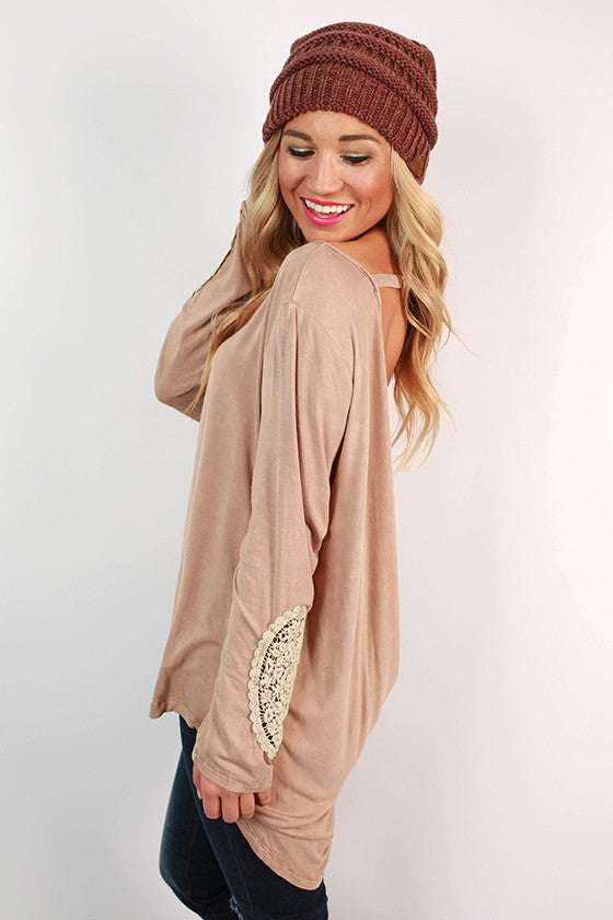 Let's Do Brunch Drape Back Top in Taupe