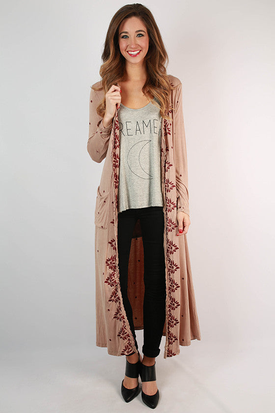 Cali Nights Embroidered Overlay in Taupe