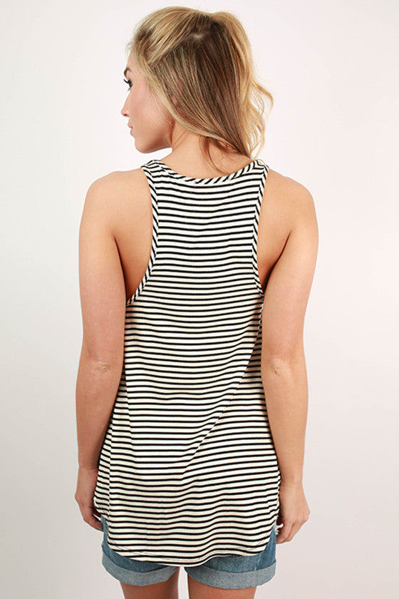 Going To Vegas Flare Stripe Tank in White