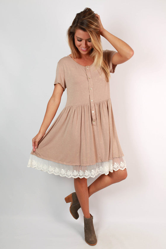 Meadowbound Babydoll Dress in Taupe