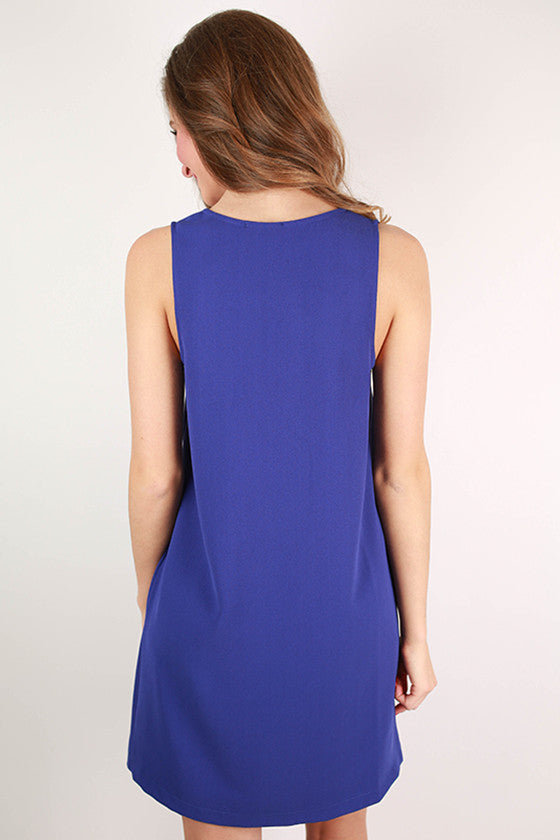 Spring In Manhattan Scallop Shift Dress in Indigo