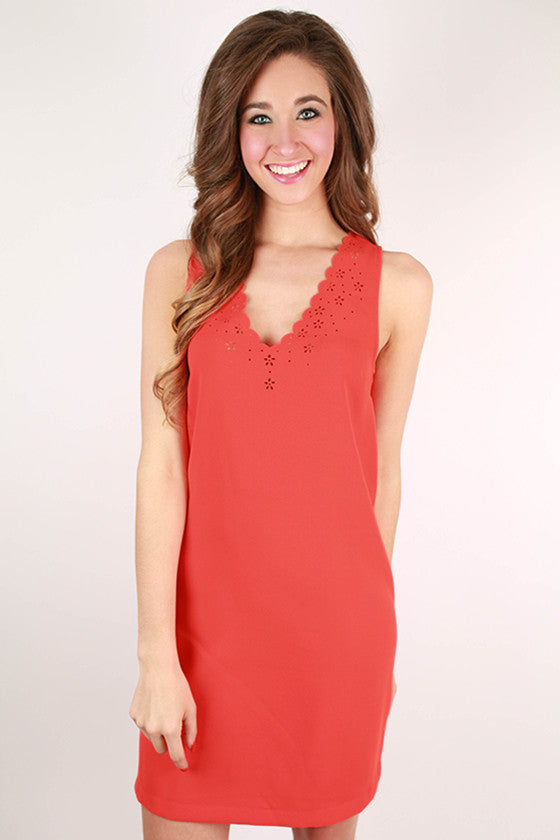 Spring In Manhattan Scallop Shift Dress in Tangerine