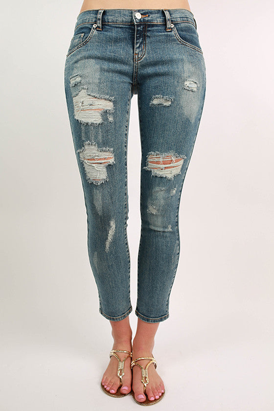 Extra Distressed Denim Skinny in Medium Blue