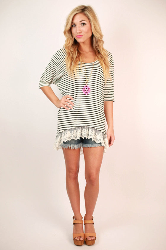 Patio Lace Stripe Tee in Ivory