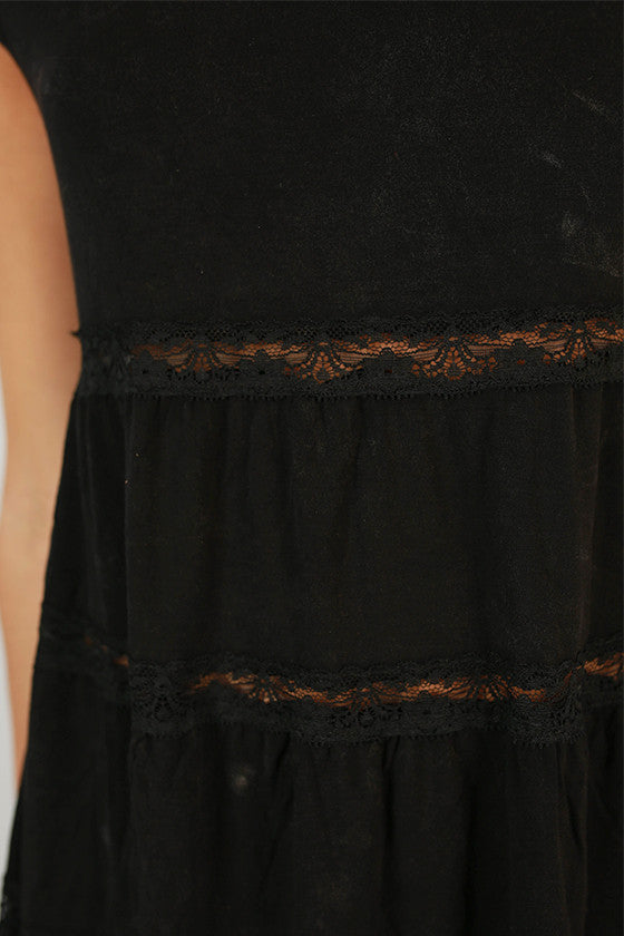 Cute As A Button Lace Babydoll Top in Black